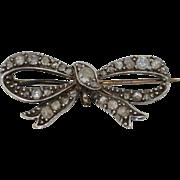 Georgian Rose Old & Mine Cut Diamonds & Sterling Silver Bow Brooch