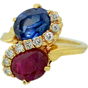 1930's Old Cut Natural Ceylon Sapphire & Ruby with Diamond 14K Ring