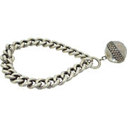 Sterling Silver Victorian Etruscan Ball Orb Chain Link Bracelet
