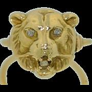 Art Nouveau 14K Lion Ring with Diamond Eyes.