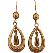 Victorian 9K Gold Etruscan Drop Dangle Earrings