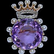 Glorious 14K Victorian Amethyst Diamond and Pearl Crown Brooch
