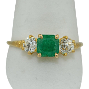Edwardian 14K Emerald & Diamond Ring