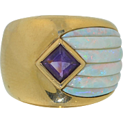 Signed Kabana 14K Opal and Amethyst Heavy Wide Gold Ring