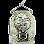 F. Webb Sterling Silver Man In The Moon Locket Pendant With Garnet 1911