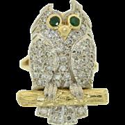 18K Diamond & Emerald 18K Three Dimensional Owl Ring  Super Fine Details