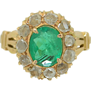 Victorian 14K Emerald and Rose Cut Diamond Halo Ring