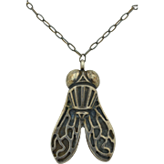 Sterling Silver Arts and Crafts Fly Insect Necklace