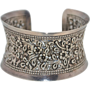 Vintage Sterling Silver Forget Me Not Flower Extra Wide Cuff Bracelet