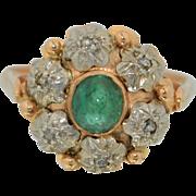 14K Rose Gold Emerald and Rose Cut Diamond Ring