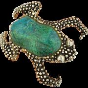 MANUEL PORCAYO Sterling Silver Tree Frog Chrysocolla Cuff Bracelet