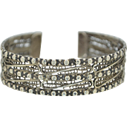 Vintage 800 Silver Egyptian - Cairo Cuff Bracelet With Lovely Filigree Work