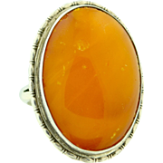 Large Vintage Baltic Amber & Sterling Silver Ring 1930's/40's