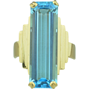 14K Yellow Gold with 10.98 CT Blue Topaz Ring