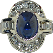 Fabulous 4.3 Carat Blue Sapphire & Diamond 18K White Gold Ring SZ 6.25US