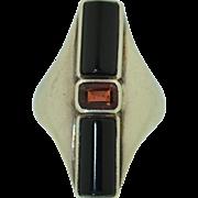 Retro Sterling Silver Onyx & Garnet Ring 7.25US