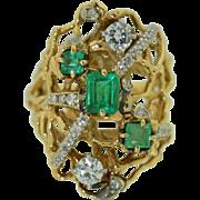 14K Columbian Emerald & Diamond Free Form Retro Ring