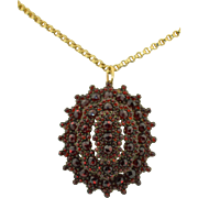Victorian Large Rose Cut Pave' Garnet Locket 800 Silver Gilt