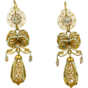 Exceptional Large 14K Victorian Filigree & Seed Pearl Dangle Earrings 2 3/4""