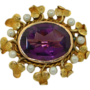 Victorian 14K Amethyst & Cultured Pearl Pin ~ Brooch