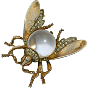 Large Crown Trifari Sterling Silver Jelly Belly Insect Fly Brooch Pin