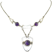 Arts & Crafts Sterling Silver and Amethyst Necklace