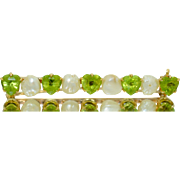 Victorian 14K Heart Cut Peridot & Fresh Water Pearl Bar Pin Brooch