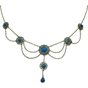 Edwardian Sterling Silver & Lapis Draping Festoon Necklace