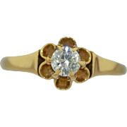 Victorian 1/4 Carat .25CTW Old European Cut Diamond In a 14K Buttercup Setting