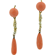 14K Edwardian Noble Coral drops & Seed Pearl Earrings