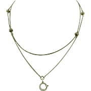 Victorian French Sterling Silver Long Guard Sautoir Muff Chain
