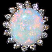 Retro 14K Australian White Fire Opal & Diamond Halo Ring - White Gold