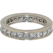 Platinum 3.5 CTW Princess Cut Diamond Eternity Ring