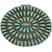 Large Zuni Native American Sterling Silver & Turquoise Concho Brooch - Pin