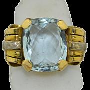 7.5 CT Aquamarine & 14K Yellow and White Gold Ring 1930's