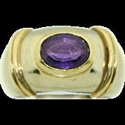 18K White & Yellow Gold Fine Amethyst Ring
