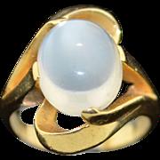 14K Fine 5CT+ Moonstone Free Form Ring 1970's