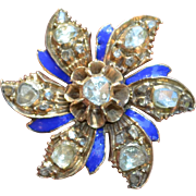 Georgian Rose Cut Diamond & Enamel Pin Brooch