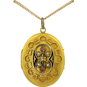 Victorian 18K Large Locket with Rubies Pearls and Enamel