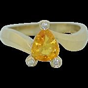 1 Carat Yellow Sapphire and Diamond Ring 14K White Gold