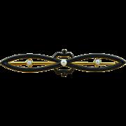 Stunning Art Deco 14K Matte Black Enamel & Pearl Pin Brooch
