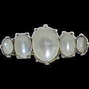 Victorian Sterling Silver & Moonstone Pin Brooch
