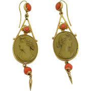 SALE Glorious Victorian Lava Cameo and Coral Earrings 9K Yellow Gold Left and Right Facing