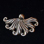 Early Mexican Octopus Sterling Silver Pin / Brooch