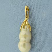 SOLD Rare Japanese Biwa Pearl 14 Karat Gold Pendant - Red Tag Sale Item