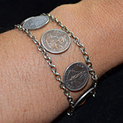 1904s Dime - Ten Cent Sterling Silver Coin Bracelet Philippines Coinage under US Sovereignty