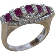 14 Karat White Gold Rubies & Diamonds Ring High Art Deco Style