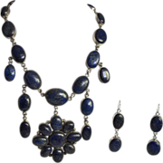 Massive Lapis & Sterling Silver Bib Necklace & Earring Set