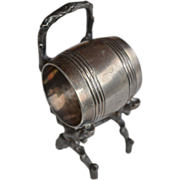 Standing Barrel and Branch Napkinring Silver Plate