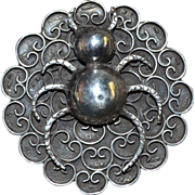 Large Sterling Silver Spider Brooch Early Mexican Fine Work